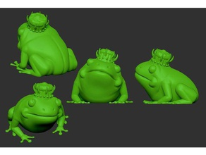 frog king 3d printing commission community crown frog frog king frog prince green jewels king king frog prince royal royal frog frog