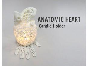 anatomic heart candle holder household 3d printer candle candleholder candle holder design gift heart household human heart organic voronoi