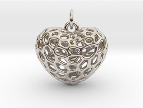 voronoi heart filled small hearts jewelry 3d printed jewellery coeur gold heart interlocking jewel jewellery jewelry lux luxe luxury metal necklace pendant shapeways silver voronoi voronoi heart