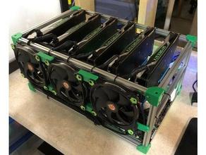Imprimée en 3d mining rig - 140mm fans bouton d'alimentation titulaire ordinateur