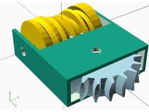globoid worm gear drive - parametric openscad code large ratio range engineering gearing mechanism globoid worm drive openscad worm drive worm gear