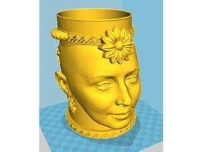 jar lid 3d printing cup cupholder cup holder girl girls head jar jars jar lid lid penc pencilholder pencil cup pencil holder