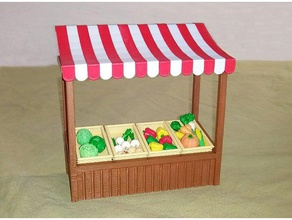 market stall buildings structures awning basket booth carrot doll dollhouse fair lettuce market booth playmobil potatoe sylvanian sylvanian families vegetables