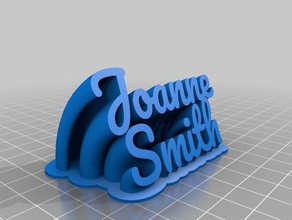 joanne smith sweeping 2-line name plate text office customized
