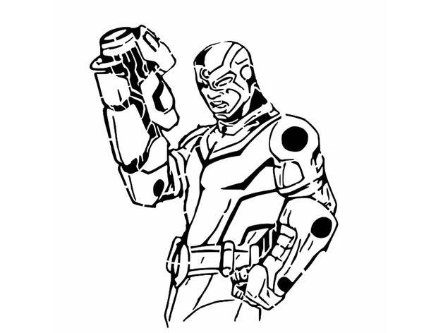 tt cyborg stencil 2d art