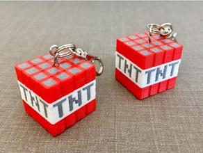minecraft tnt key ring multi-material toys games tnt block