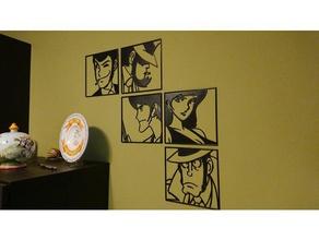 l'arte della parete, monkey punch, lupin iii rupan sansei jigen goemon fujiko zenigata 2d art