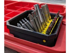 bit index milwaukee packout low profile organizers tool holders & boxes hex bit holder milwaukee milwaukee packout packout small parts storage tool tool organizer