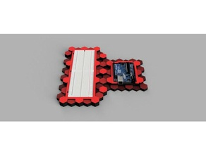 arduino & breadboard mount tool holders & boxes arduino arduino base arduino case arduino mount arduino plate arduino uno breadboard breadboard case breadboard holder breadboard mount breadboard plate case hex hexagon hex stand hex style plate stop tech-1