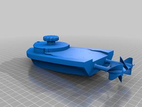 mini Aufzieh-Boot-dual-Laufwerks - schraubenlos - voll 3d-gedruckt mechanische Spielzeuge Badewanne Boot Zahnräder schraubenloses Wasser wind-up