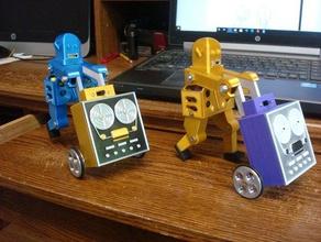 adam cart pushing robot mechanical toys battery robot biped robot cart robot diy robot vintage robot walking robot