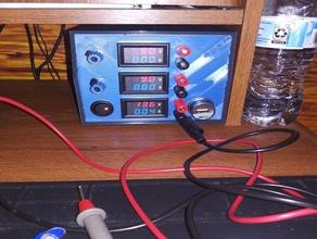lab power supply-3 channel x 2 amp electronics ammeter ammeter-voltmeter benchtop power supply buck converter current meter digital voltmeter lab equipment openscad power supply psu voltmeter voltmeter case