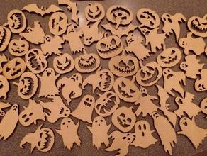 trick treat cutouts halloween laser lasercut laser cutter svg trick treat wood wooden trick treat