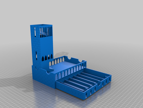 dnd dice tower - customizable arch architecture boardgames castle tower customizable customized customizer dice dice box dice cup dice game dice holder dice tower dice tray dnd dungeons dungeons dragons dungeons dragons dungeon dnd fantasy game games icosohedron magnet magnetic openscad tabletop tabletop gaming tower yk42