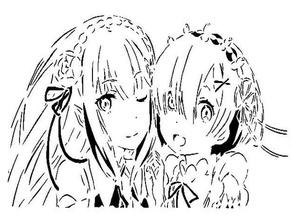 rem emilia stencil anime emilia isekai isekai quartet manga rem rezero stencil