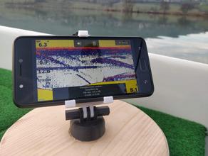 stable articulated phone support designed boat fishing boat echosounder fishfinder fishing fishing kayak garmin humminbird lowrance phone stand smartphone holder