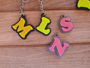 simple keychain letters 3d letters alphabet dual dual color dual extrusion initials keych keychain keychains letter letters name name tag openscad sketchup tag