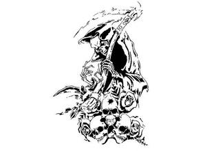 faucheuse pochoir aérographe art la mort grimm faucheuse d'horreur squelette le crâne pochoir