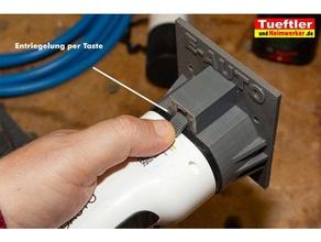 typ2-halter elektroauto wallbox automotive charging plug holder electric car ev plug ladestecker-halter typ2 typ2 halter typ2 holder wallbox wall mount