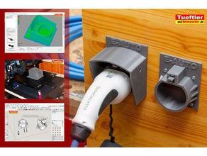 typ2-halter mit wetterschutzhaube und verriegelung charger charging cable holder elektroauto ev plug ladestecker halter mennekes plug typ 2 holder typ2 typ2 halter wallbox