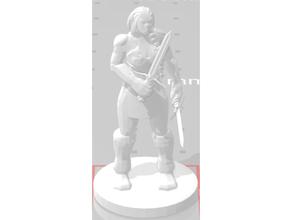 dual wielding female orc female figurine orc pathfinder supernatural swords