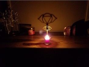 Chakra Schatten Hersteller Ajna Ambiente Umgebungs Kunst Kerze Chakra Chakra Symbole Dekor Dekoration Flamme Flammen Meditation om Symbol entspannen Schatten Schatten