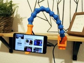 flexible smartphone holding arm integrated charging lead arm camera clamp flex flexible holder iphone mobile phone mount schwanenhals segment arm smartphone stand stick tripod tube