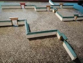 Ölçek Onur Bahçe duvar 28mm mimari Bahçe duvar Japonca Japonca arazi Japonca duvar oryantal arazi Ölçek Onur neyse duvar duvar 28mm savaş oyunu arazi savaş oyunları savaş oyunları arazi