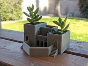 romano terraza jardín suculento plantador arquitectura castillo plantador romano suculentas