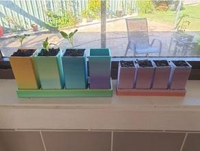 ventana umbral planta semillero cuadrícula ollas 4x1 Navidad regalo planta maceta plantador maceta plántulas media verduras