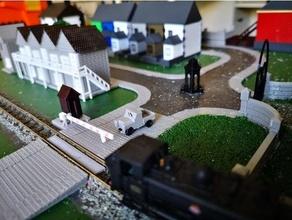 calibre nivel cruce diorama calibre ferrocarril ferrocarril