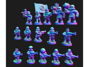 guerre sprecate lunare coalizione mediatore soldati 10mm 10mm scala epic40k epico scala Luna scifi gioco guerra wargaming wargaming scifi wasteman