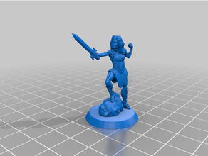 warrior princess 3dprintable dungeons dragons fighter human miniature