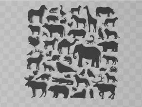 animals silhouette big set animaux ours chameau cancer poulet vache crocodile l'éléphant girafe chèvre OIE hippopotame hippopotame cheval panthère perroquet lapin rat Scorpion mouton dinde morse Loup