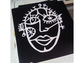 viso grigri decorazione viso Taglio laser collana scultura viso parete