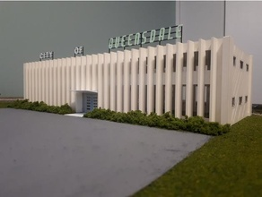 queensdale city hall building - ho scale brutalist building century city hall ho scale mid modern