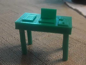 replica workspace 5 pieces  easy print ender 3 laptop miniature model pla replica scale model school simple table tidy workspace tinkercad workspace