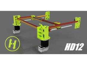 hevort xyhd12 - xy axis heavy duty 12mm belt gantry hevort 3d diy printer 3d printer corexy core xy gantry hevort hypercube linear rail mgn12 rail servo