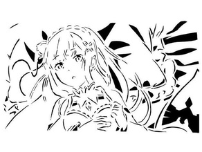 emilia stencil 1 anime emilia isekai isekai quartet manga rezero  stencil