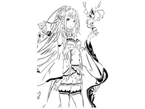 emilia stencil 3 anime emilia isekai isekai quartet manga rezero  stencil