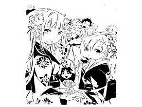 rem emilia stencil 3 emilia isekai isekai quartet rem rezero stencil