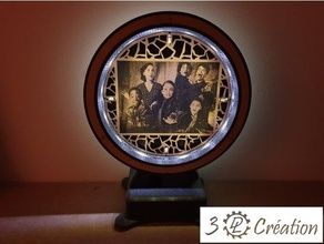 lampe miroir bois - mirror wood lamp bois lamp lampe laser lasercut laser cut laser cutter laser engraver miroir mirror personalized personnalisable photo picture voronoi wood