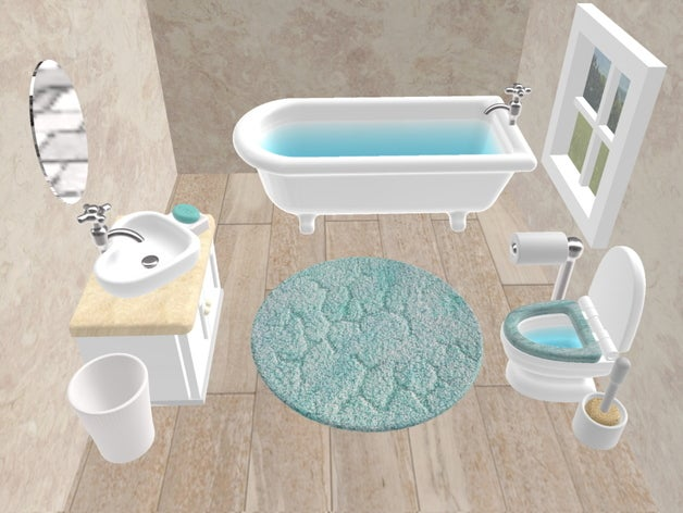 dollhouse bathroom set as