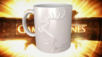 game thrones baratheon coffee mug home office & garden 3D printing model, 3D printing file, 3D printable model, 3D printing design, 3d print, Stag, Renly, Stannis, robert, king, fury, is, ours, sculpture, relief, embossed, bas, HBO, George, Martin, RR, Baratheon,  GoT, print, printing, fast, quick, easy, amazing, awesome, epic, drinks, glass, drink, cup, kitchen, house, glassware, , mugs, coffee ,cup, cups, mug, coffee, thrones, of, game,