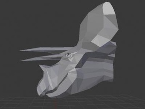 poly triceratops head art 3D printing model, 3D printing file, 3D printable model, 3D printing design, 3d print, low_poly_triceratops_head