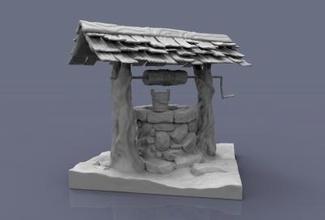 acqua architettura 3D stampa modello 3D stampa file 3D stampabile modello 3D stampa design 3d Stampa bene villaggio stilizzazione vecchio giardino pietra legna invecchiato Usato invecchiamento