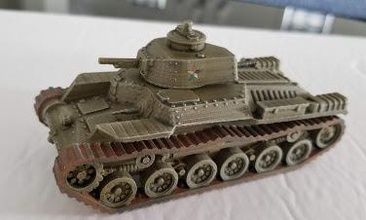 japanese type 97 chi-ha tank - wargaming3d 28mm miniature derivative bergman file my thanks him his sharing treasure chest stls type 97 chi-ha main japanese medium tank ww2 early version armed light 57mm howitzer also used various chinese factions test print pictured has markings chinese warlord upsized his type 97 chi-ha separated tracks hull added tracks teeth track pieces added assembly nubs tracks hull ensure proper alignment added bolts all parts represent nature construction original file had no bolt protrusions  created new main gun mantle gun barrel hull details well new mmgs hull rear turret file meant fdm printing 01 mm layers supports