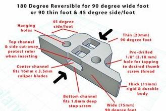 igaging ip54 caliper - depth foot reversible 90 & 45 degree  90 degree 45 degree caliper depth foot depth gauge ez-cal heavy duty igaging igaging ip54 reversible attachment accessory
