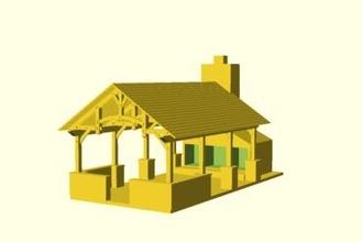 timber frame pavilion model toys openscad model